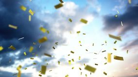 Sky and clouds with confetti. Animation of sky and clouds with golden confetti falling vector illustration