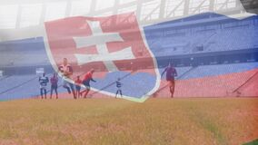 Animation of Slovakian flag waving over two multi-ethnic rugby teams playing rugby