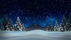 Animation snowy and snow winter landscape with dry and christmas trees and mountain background