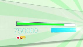 Animation of social media popularity with emojis on rotating stripes moving in seamless loop