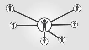 Animation sociale d'affaires de l'icône 4k de réseau d'humains banque de vidéos