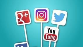 Animation sociale de boucle d'icônes de media FullHD banque de vidéos
