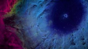 Animation of space flight through red and blue nebula. Fly through outer space nebula and stars.  Stock Image