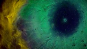 Animation of space flight through yellow and green nebula. Fly through outer space nebula and stars.  Stock Images