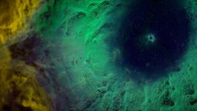 Animation of space flight through yellow and green nebula. Fly through outer space nebula and stars.  Stock Image