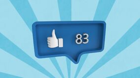 Animation of speech bubble with thumbs up and numbers over rotating stripes moving in seamless loop