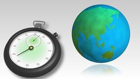 Globe spinning with fast moving stopwatch