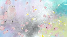 Animation of spring scenery with floating pink flower petals and birds