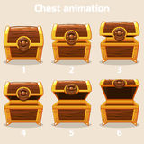 Animation step by step open and closed wooden chest. Animation antique old box, step by step open and closed wooden Treasure chest Stock Images