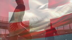 Animation of Swiss flag waving over two multi-ethnic rugby teams playing rugby