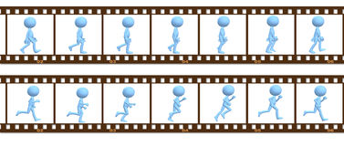 Animation symbol people walk run in cel frames Royalty Free Stock Images