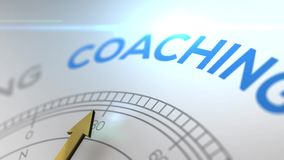 Compass with the text COACHING right path, concept video for good direction white shiny background