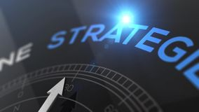 Compass with text - Strategie - german word for strategy - right path, concept video for good direction blue shiny