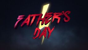 Animation text Fathers day and thunderbolt, retro holiday background.