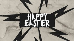 Animation text Happy Easter on retro hipster and grunge background with thunderbolt