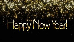 Animation Text HAPPY NEW YEAR with red sparkle on black background.