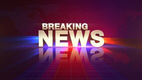 Animation text News Breaking and news intro graphic with lines and world map in studio, abstract background