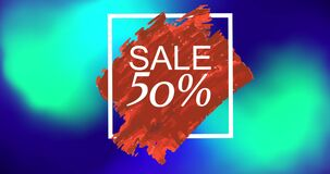 Animation of text sale 50 percent in white square on red paint, over blue and green blurs