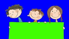 Animation of three happy little children standing behind blank banner / board which they are holding, animated hand drawn cartoon stock video