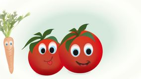 Animation of Toamtoes, Carrot and Pepper stock video footage