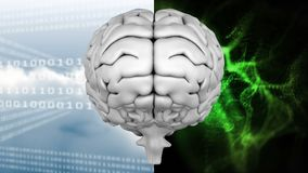 Animation of the top of brain against a binary codes and light effects