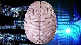 Animation of the top of brain against data financial and light effects stock illustration