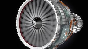 Animation of turbofan jet engine on black background stock video footage