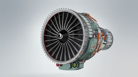 Animation of turbofan jet engine on gray background stock video
