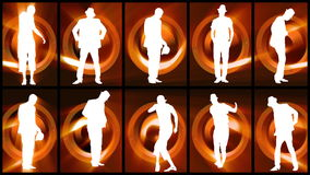 Animation of twelve men silhouettes dancing against orange and black background stock video footage