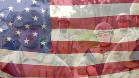 Multi races US soldiers with US flag waving foreground