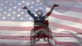 Disabled old woman opening arms with US flag waving foreground