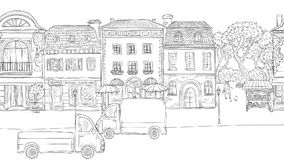 Animation urban street in historic European city. On the road going cars and trucks. People walking, pigeons fly. Buildings with cafes and shops. Drawn lines stock footage