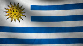 Animation of Uruguay flag at wind. Animation of Uruguay flag moving at wind stock footage