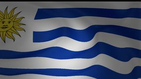 Animation of Uruguay national flag waving. Collection stock video footage