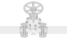 Animation valve opening. Industrial concept