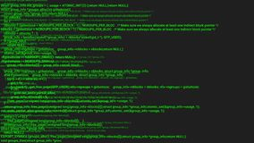 Animation verte de concept de pirate informatique de codage d'écran avec le problème Faute de frappe de programmation de code illustration libre de droits