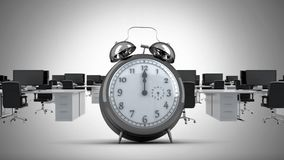 Clock ticking in office. Animation of vintage clock ticking while office moves to the left stock illustration