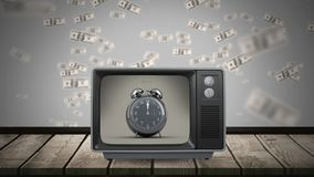 Television showing clock that ticks. Animation of vintage television showing clock that ticks while dollars falling down in background vector illustration