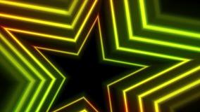 Animation visuelle rougeoyante au néon jaune verte d'étoiles illustration stock
