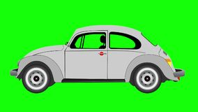 Animation of  Volkswagen beetle on green screen. stock footage