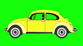 Animation of  Volkswagen beetle on green screen. stock video footage