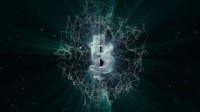 Animation von abstrakten Daten mit bitcoin Symbol im digitalen Raum Hintergrund des globalen Geschäfts Animation der nahtlosen Sc stock abbildung