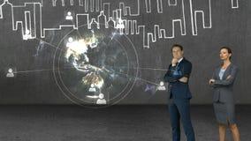 Animation von den Geschäftsleuten, die Technologieschnittstelle betrachten stock footage