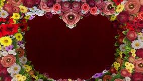 Animation von den wirbelnden Blumen, die das Schattenbild eines Herzens auf einem roten festlichen Hintergrund bilden Schablone f stock abbildung