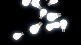 Animation von fliegenden Lampen 3d auf schwarzem Hintergrund Abstrakte cgi-Bewegungsgraphiken und Fliegenbirnen Fallende Lampen o vektor abbildung