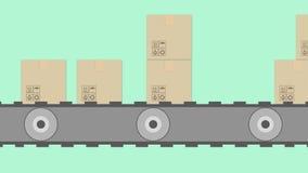 Animation von Pappschachteln auf Förderband vektor abbildung
