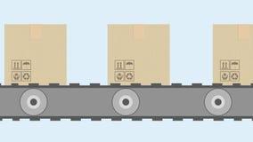 Animation von Pappschachteln auf Förderband stock abbildung