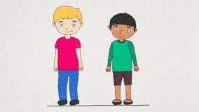 Animation von zwei Karikaturjungen von verschiedenen Rennen in einem Fenster des großen grünen Hauses, dessen auf weißes Blatt ge lizenzfreie abbildung