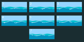 Animation water surface. Vector illustration Royalty Free Stock Images