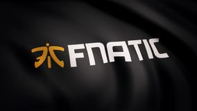 Animation waving flag symbol of professional eSports team Fnatic. A world-class cyber sports team. Editorial use only.  royalty free stock photography